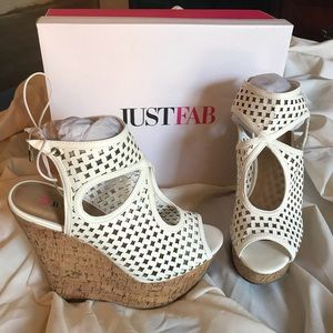 JustFab Sky High White Cutout Wedges